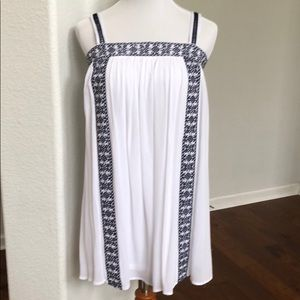 Embroidered White and Navy Dress BNWT